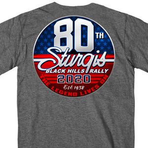 Official 2020 Sturgis Motorcycle Rally 80th Logo Dark Heather T-Shirt