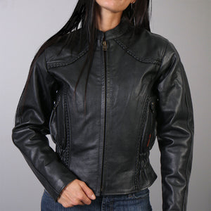 Hot Leathers Ladies Scooter Style Leather Jacket with Braided Detail