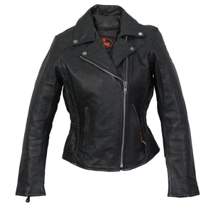 Hot Leathers Ladies Braided Motorcycle Leather Jacket