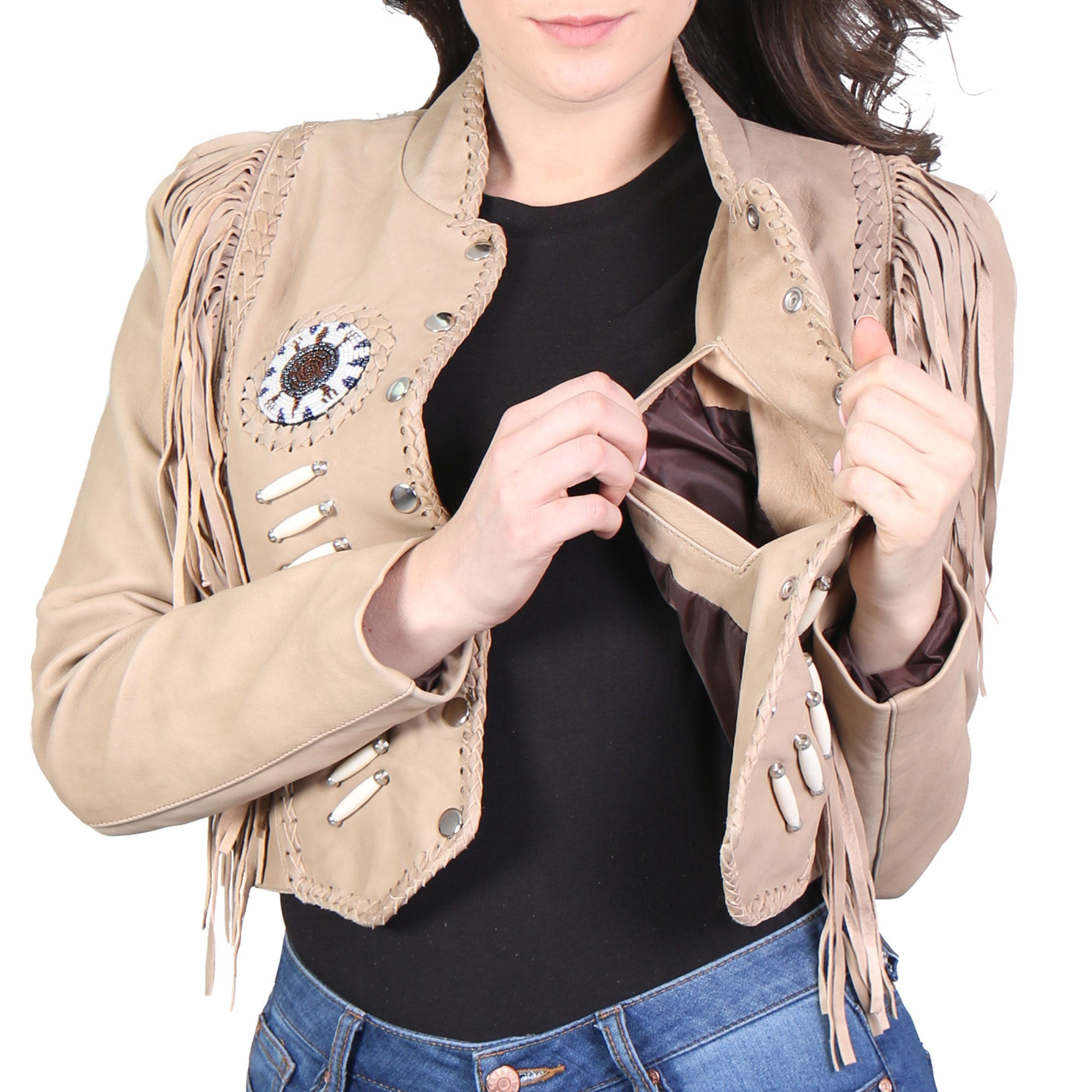 Hot Leathers Ladies Brown Bone and Bead Fashion Jacket