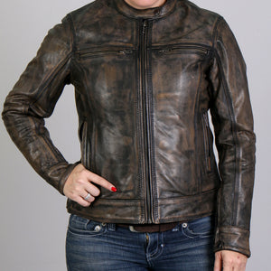Hot Leathers Heritage Collection Ladies Distressed Brown Leather Jacket