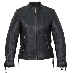 Hot Leathers Lace Up Sleeves Leather Jacket