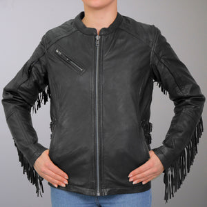 Hot Leathers Lightweight Ladies Leather Jacket with Stud and Fringe