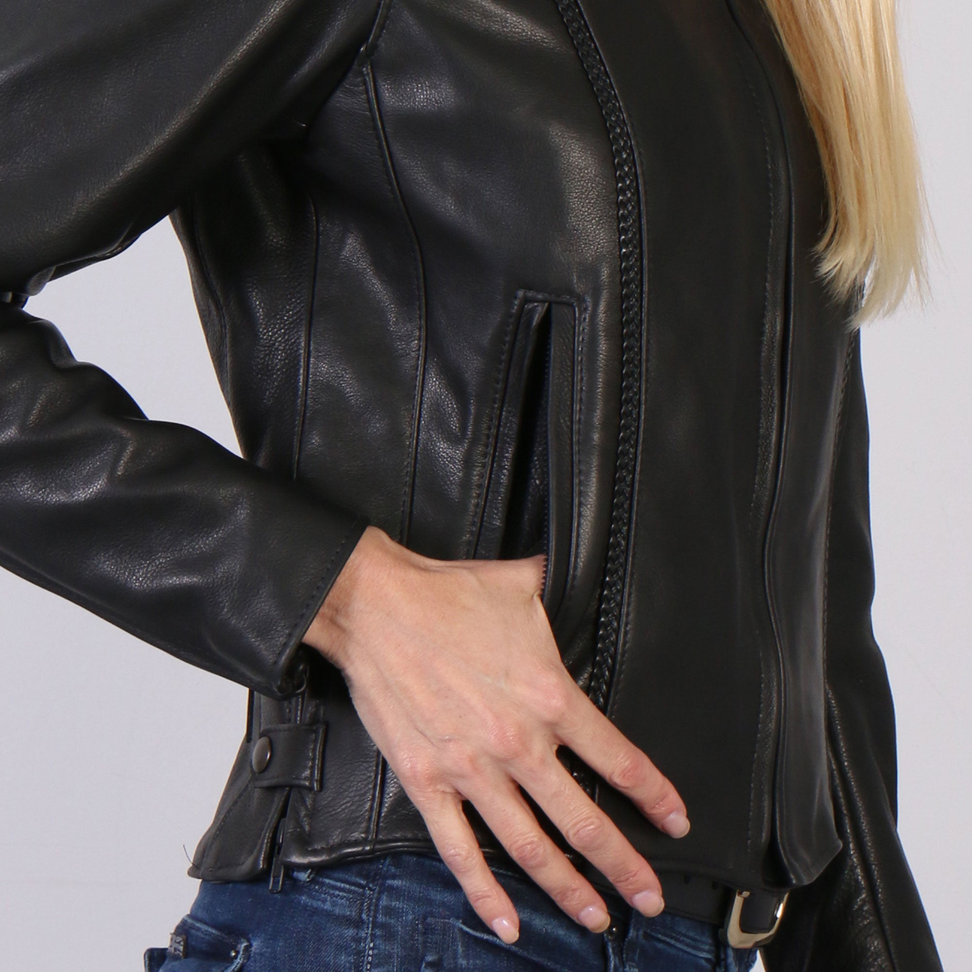 Hot Leathers USA Made Ladies Leather Jacket with Braided Detail