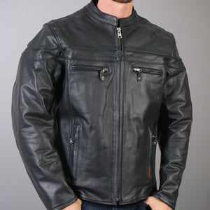 Hot Leathers Men's Leather Jacket with Double Piping