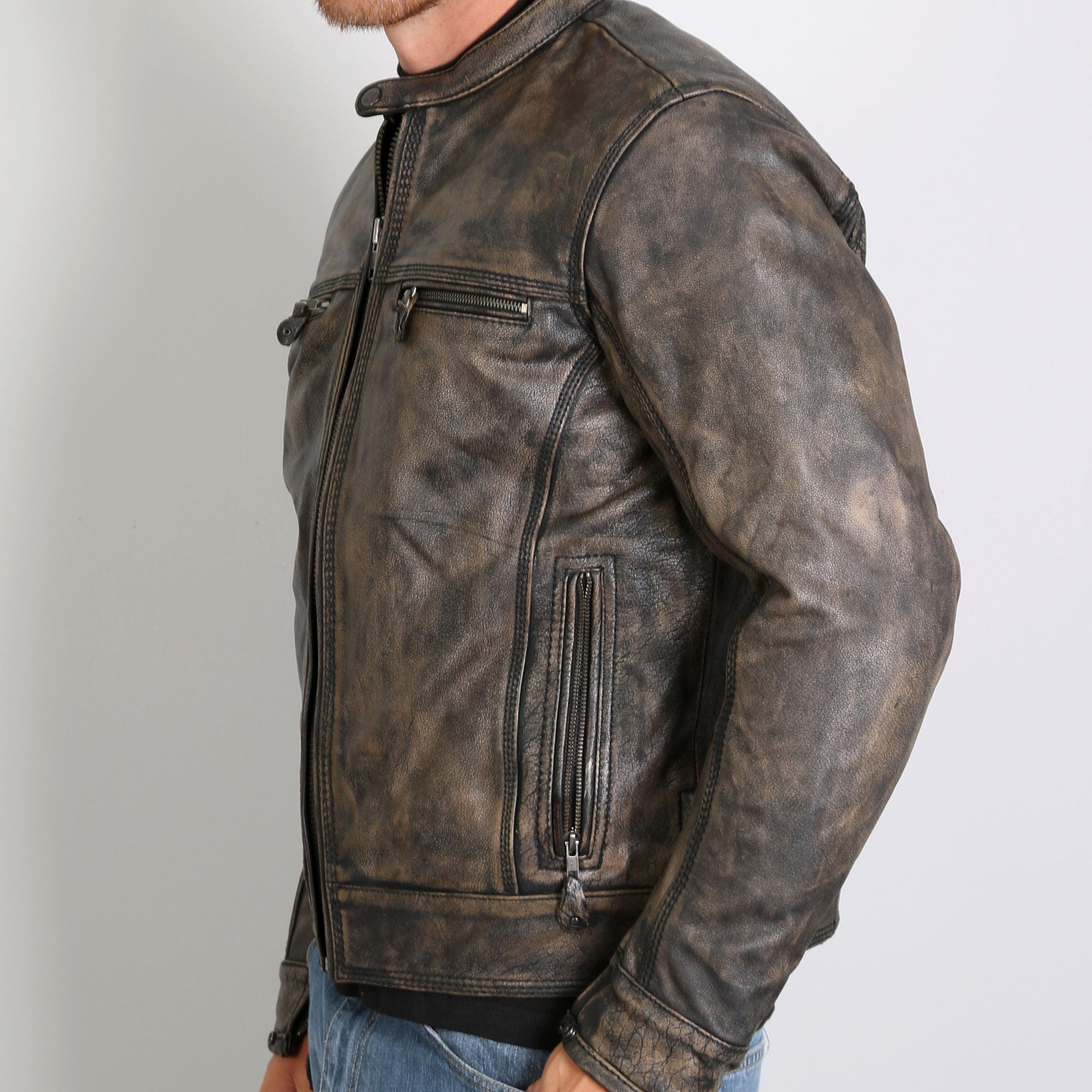 Hot Leathers Men's Distressed Brown Leather Jacket