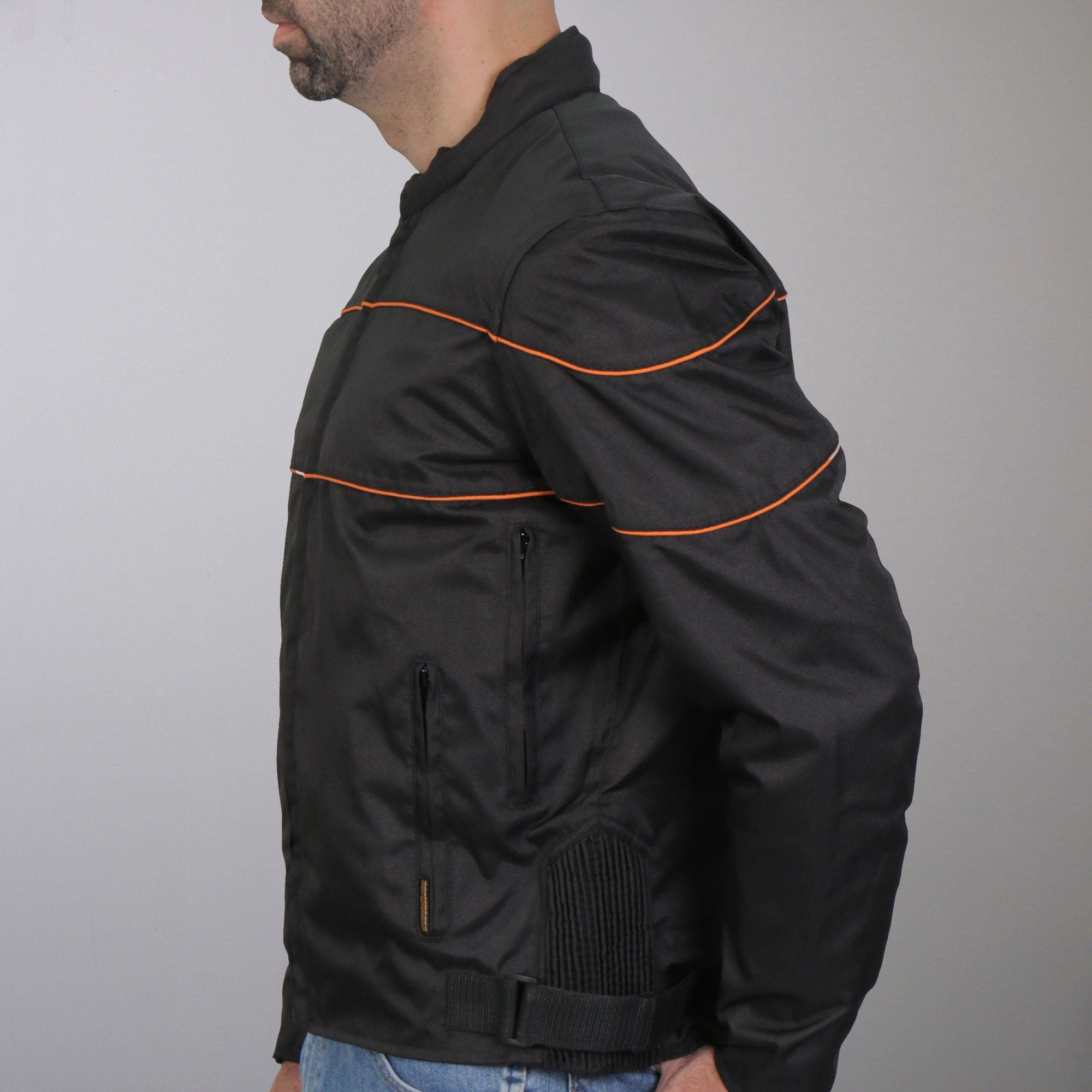 Hot Leathers Nylon Jacket with Orange Reflective Trim