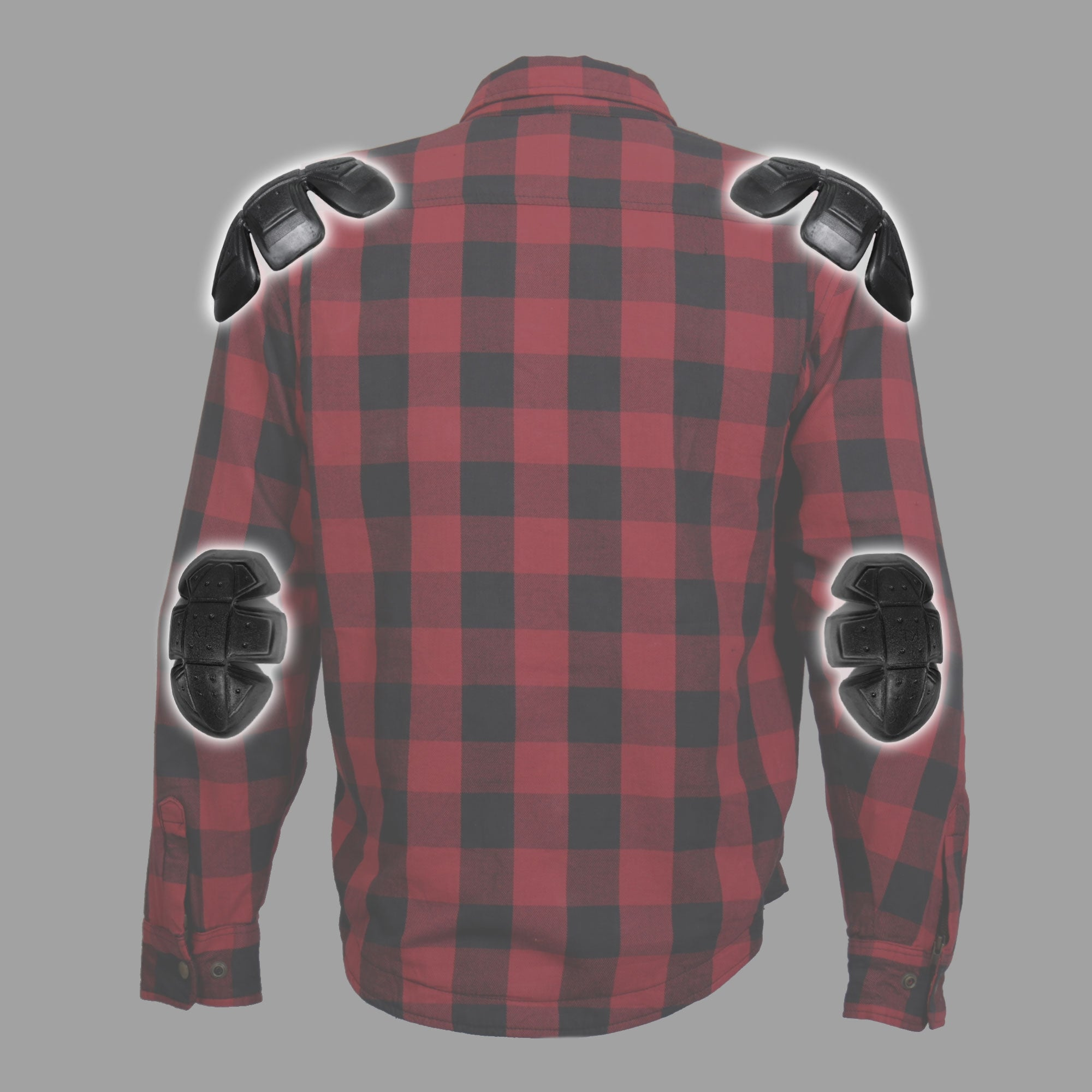 Hot Leathers Red and Black Armored Flannel Jacket