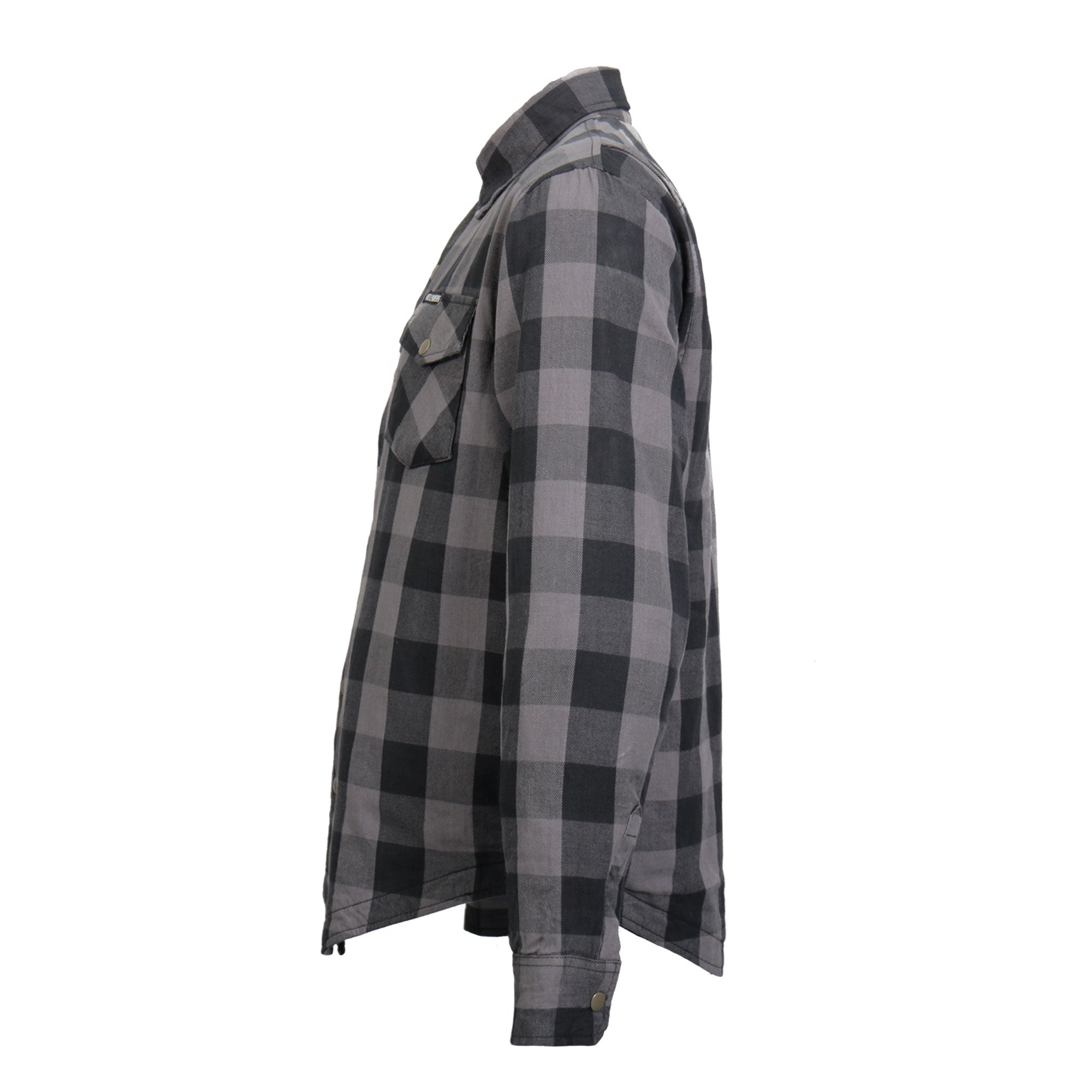 Hot Leathers Gray and Black Armored Flannel Jacket