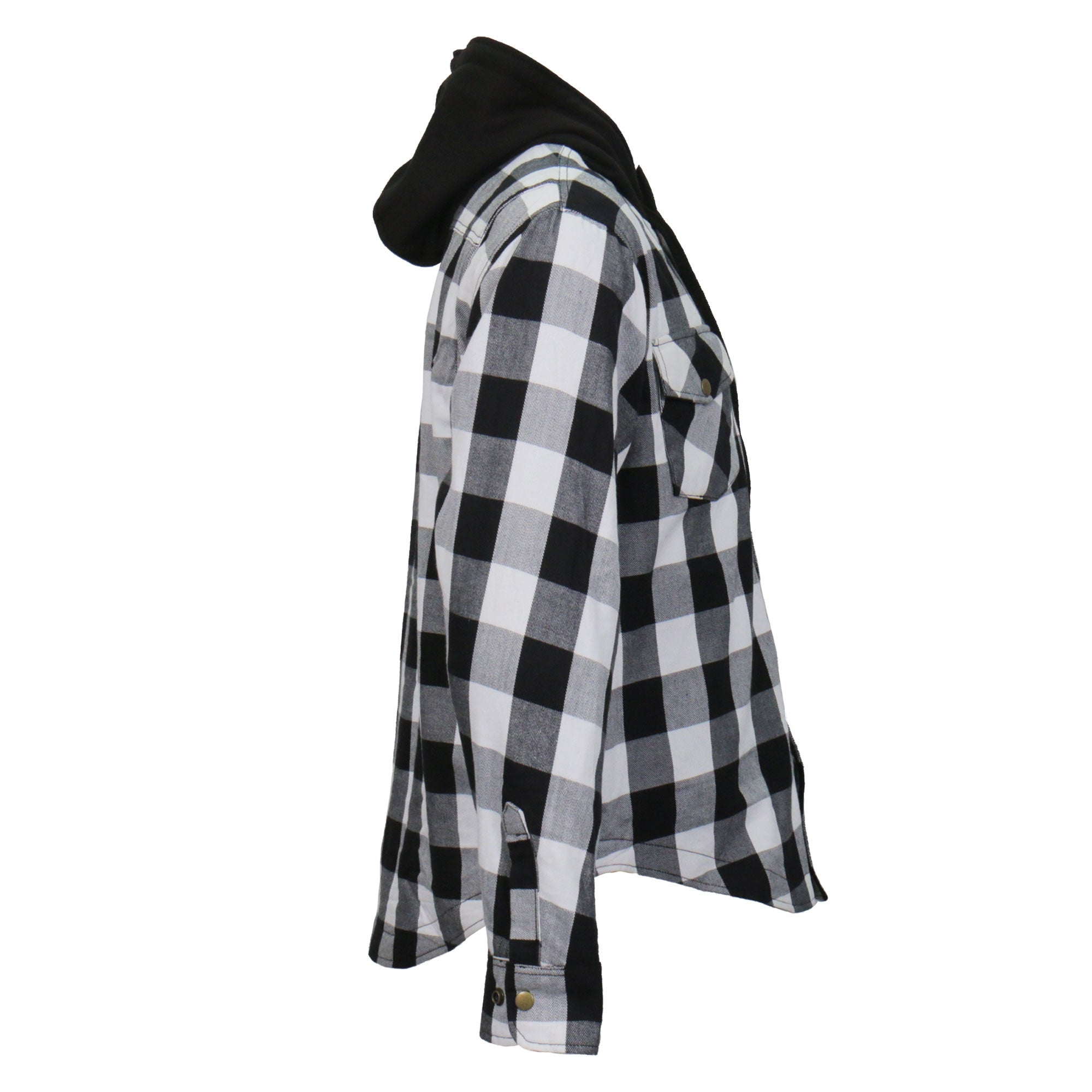 Hot Leathers Black and White Hooded Armored Flannel Jacket