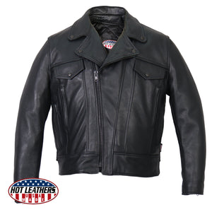 Hot Leathers Men's USA Made Premium Leather Vented Motorcycle Jacket