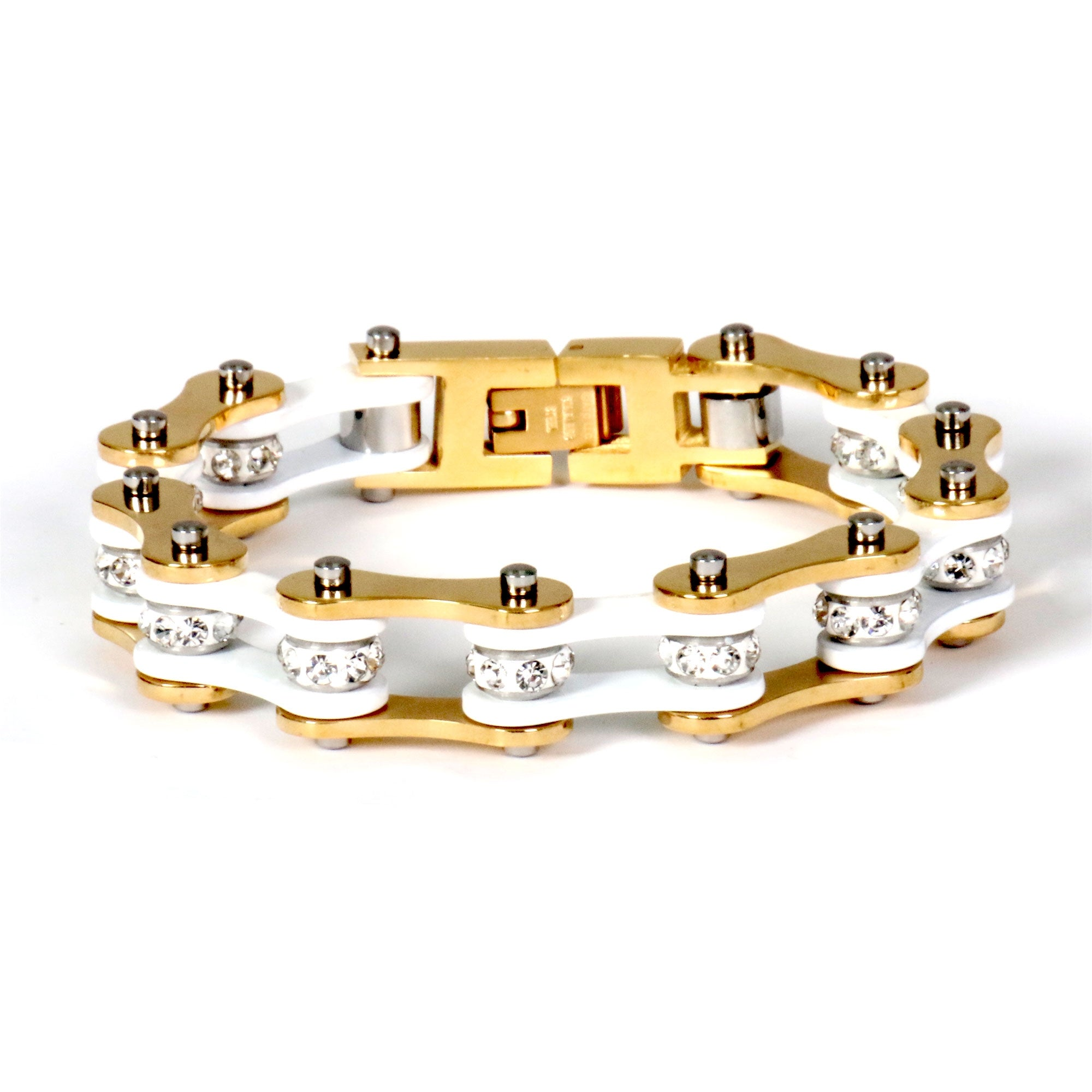 Hot Leathers White & Gold Motorcycle Chain Bracelet