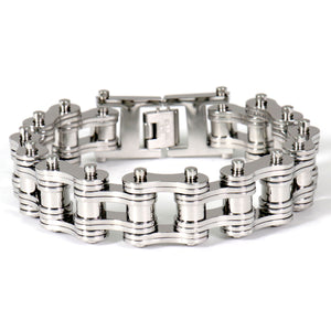 Hot Leathers Double Wide Silver Motorcycle Chain Bracelets