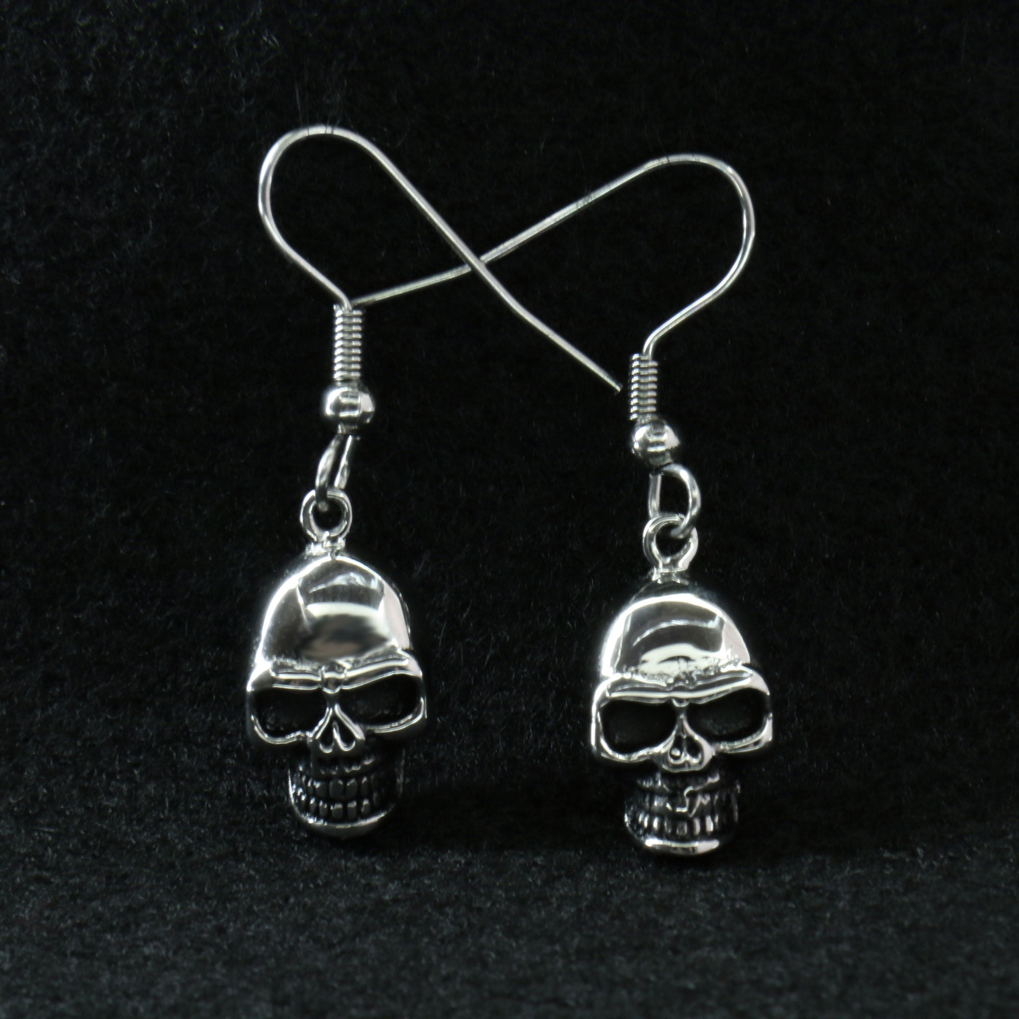 Hot Leathers Stainless Steel Skull Earrings
