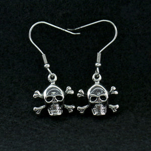 Hot Leathers Stainless Steel Skull and Crossbones Earrings