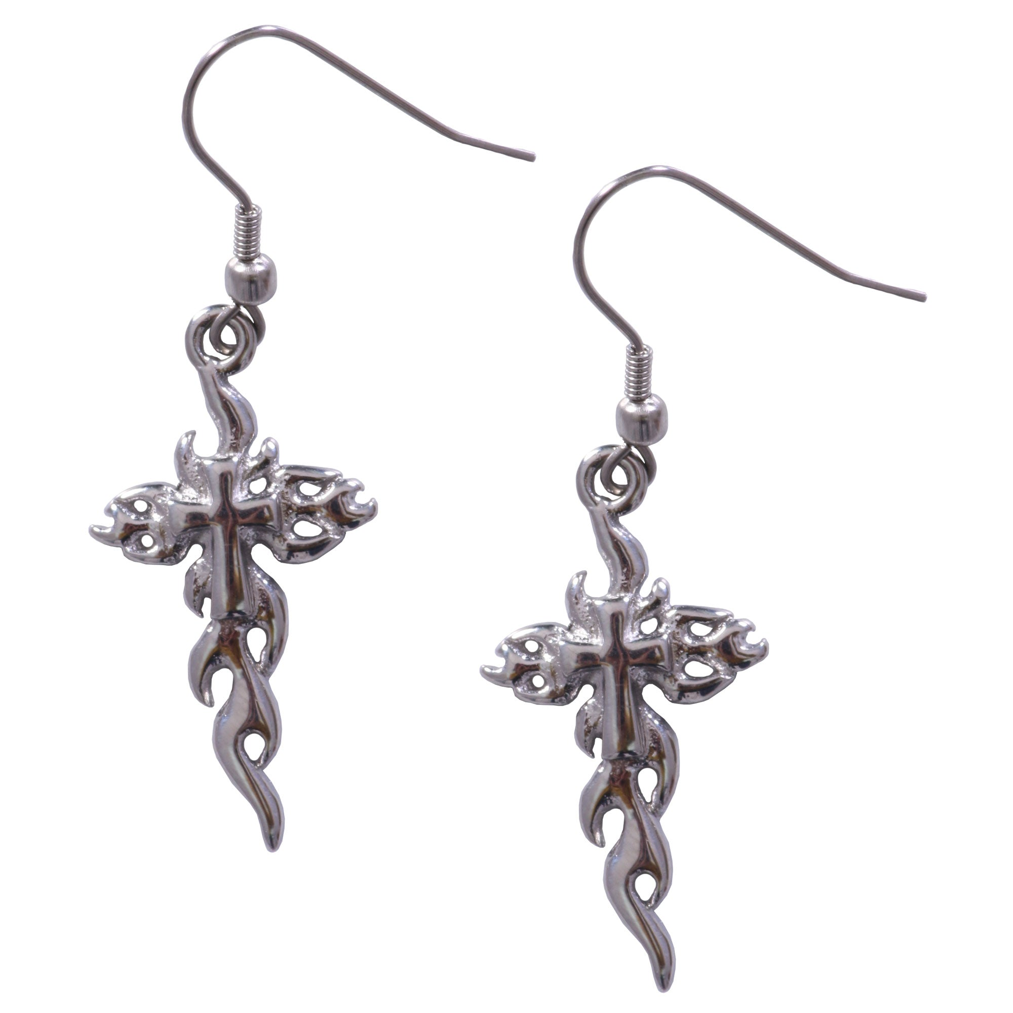 Hot Leathers Cross Flames Earrings