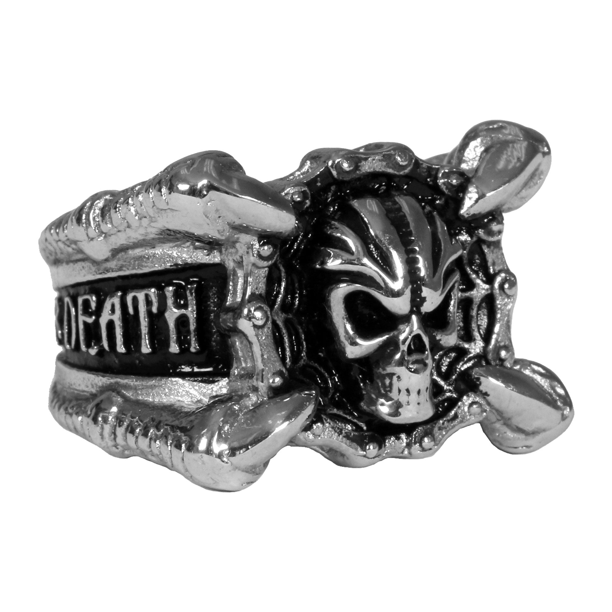 Hot Leathers Mens Freedom or Death Skull Ring