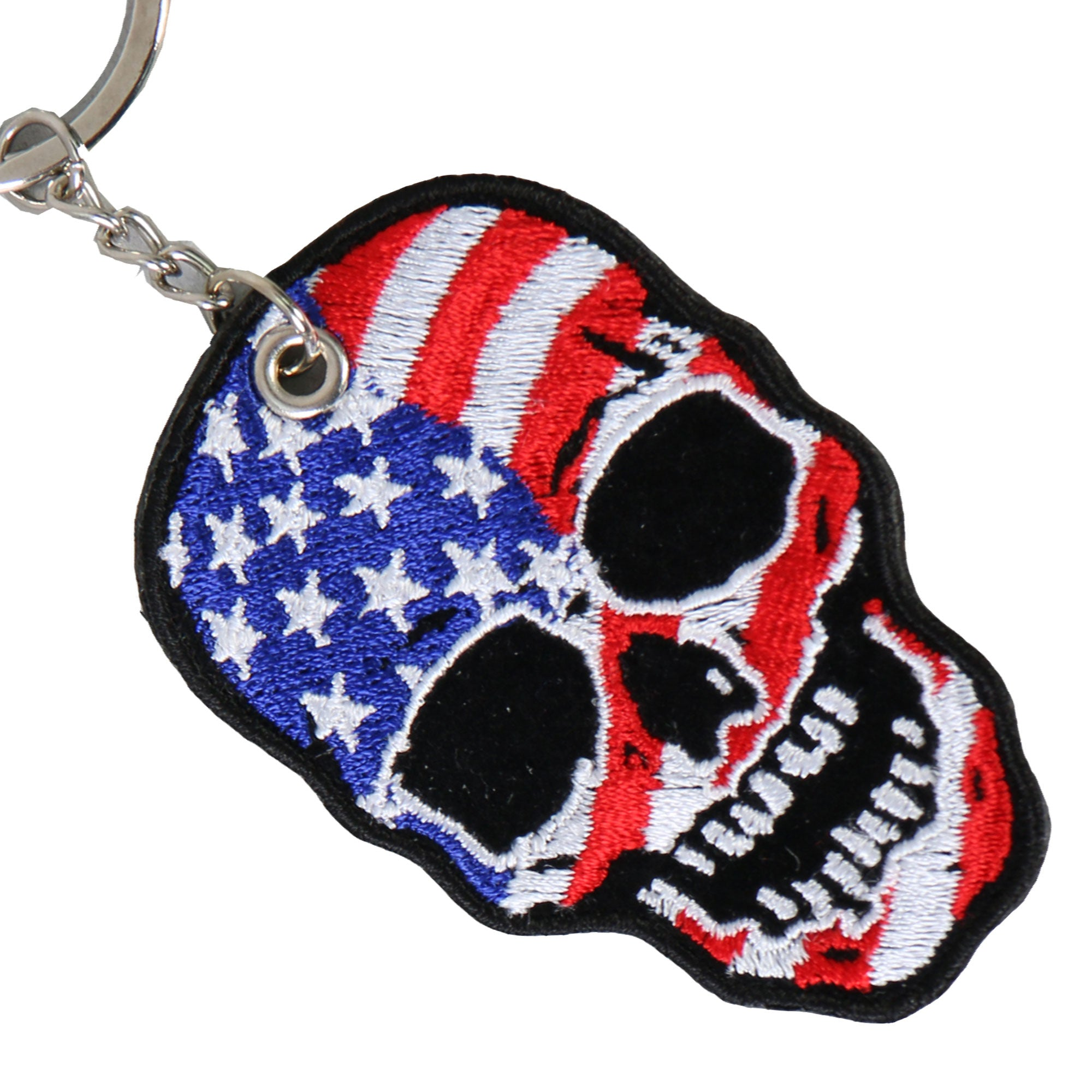 Hot Leathers American Flag Skull Embroidered Key Chain