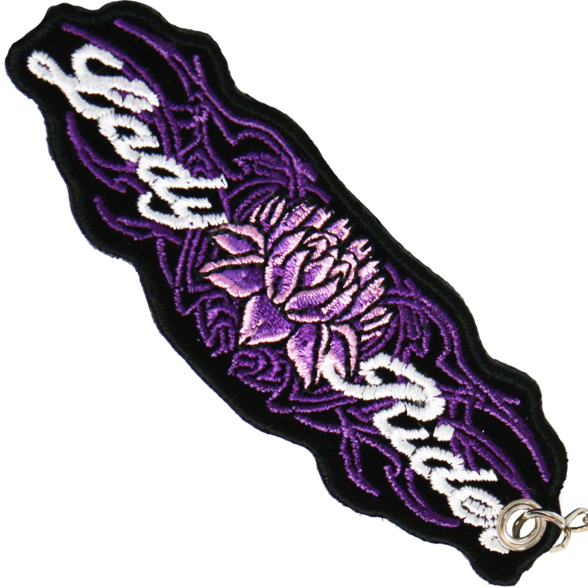 Hot Leathers Lady Rider Lotus Embroidered Key Chain
