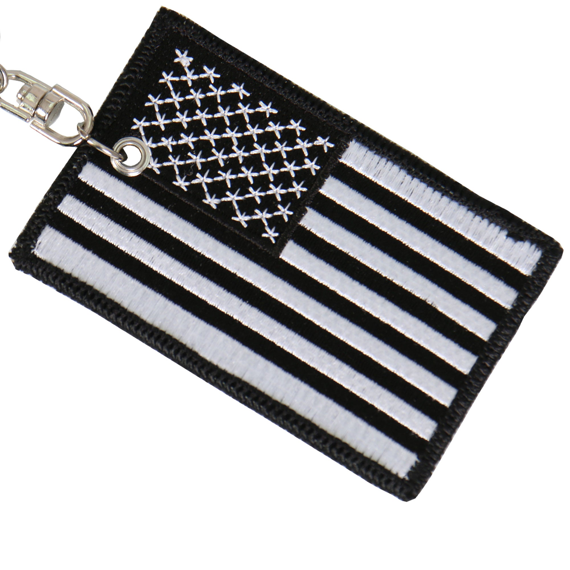 Hot Leathers Black & White American Flag Keychain
