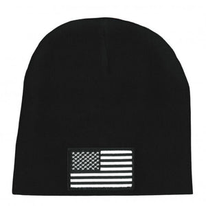 Hot Leathers Black and White American Flag Knit Hat