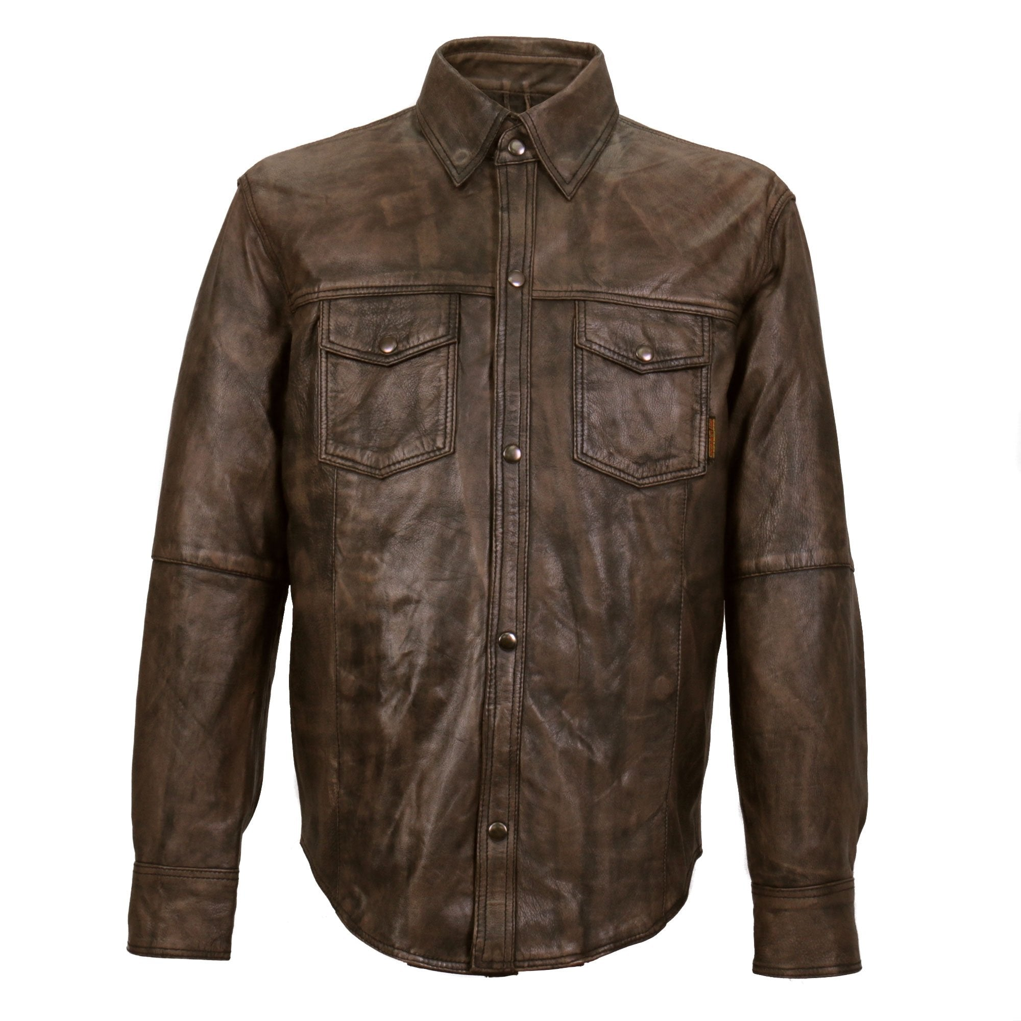 Hot Leathers Men's Leather Snap Down Shirt