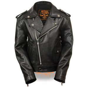 Milwaukee Leather LKK1920 Boy's Black Leather Biker Jacket with Patch Pocket Styling - Milwaukee Leather Boys Leather Jackets