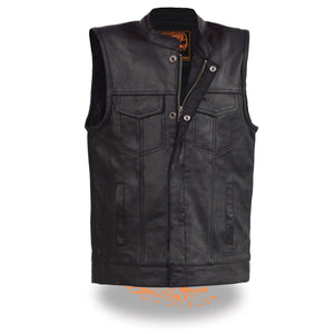 Milwaukee Leather LKY3850 Youth Size Open Neck Snap and Zip Front Club Style Leather Vest - Milwaukee Leather Youth Leather Vests