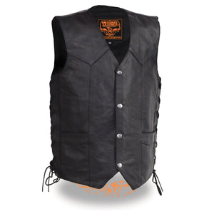 Milwaukee Leather LKY3860 Youth Size Black Leather Side Lace Biker Vest - Milwaukee Leather Youth Leather Vests
