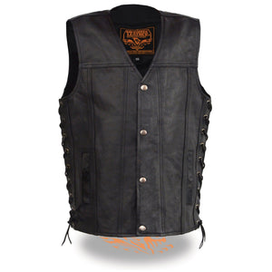 Milwaukee Leather LKY3870 Youth Size Snap Front and Side Laces Leather Vest - Milwaukee Leather Youth Leather Vests