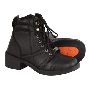 Milwaukee Leather MBK9255 Boys Black Lace-Up Boots with Side Zipper Entry - Milwaukee Leather Kids Boots