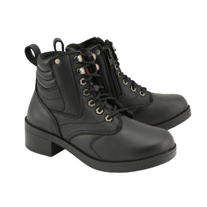 Milwaukee Leather MBK9275 Boys Black Lace-Up Boots with Side Zipper Entry - Milwaukee Leather Kids Boots