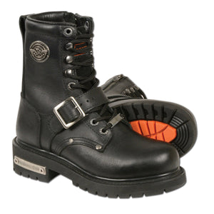 Milwaukee Leather MBL201 Womens Black Leather Boots Lace-Up with Buckle and Inside Zipper - Milwaukee Leather Womens Boots