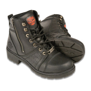 Milwaukee Leather MBL9300 Womens Black Lace-Up Leather Boots with Size Zipper - Milwaukee Leather Womens Boots