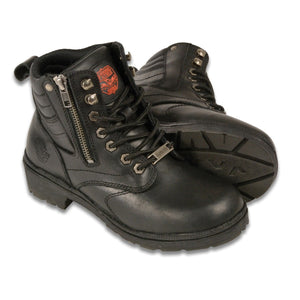 Milwaukee Leather MBL9320 Womens Black Lace-Up Boots with Side Zipper - Milwaukee Leather Womens Boots