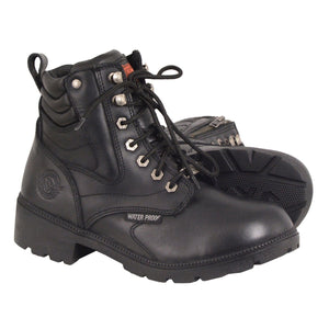 Milwaukee Leather MBL9321WP Womens Black Waterproof Lace-Up Boots with Side Zipper - Milwaukee Leather Womens Boots