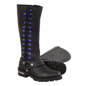 Milwaukee Leather MBL9366 Ladies Black 14 Inch Leather Harness Boots with Purple Accent Lacing - Milwaukee Leather Womens Boots