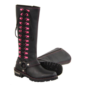 Milwaukee Leather MBL9367 Ladies Black 14 Inch Leather Harness Boots with Fuchsia Accent Lacing - Milwaukee Leather Womens Boots