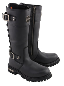 Milwaukee Leather MBL9385 Womens Black 15 Inch Calf Laced Leather Riding Boots with Side Zipper Entry - Milwaukee Leather Womens Boots