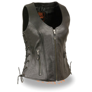 Milwaukee Leather MLL4531 Black Women's Open Neck Side Lace Front Zipper Leather Vest with Gun Pockets - Milwaukee Leather Womens Leather Vests