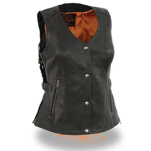 Milwaukee Leather MLL4565 Women's Black Fringed Leather Vest with Gun Pockets - Milwaukee Leather Womens Leather Vests
