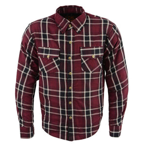 Milwaukee Performance MPM1640 Men's Maroon, Black and White Armored Long Sleeve Flannel Shirt with Kevlar