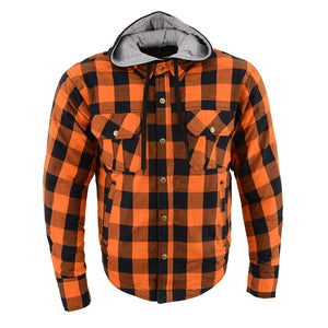 Milwaukee Leather MPM1642 Men's Orange and Black Armored Long Sleeve Hooded Flannel Shirt with Kevlar