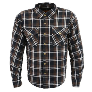 Milwaukee Performance MPM1643 Men's Brown, Black and White Armored Long Sleeve Flannel Shirt with Kevlar