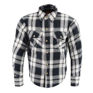 Milwaukee Performance MPM1644 Men's Black and White Armored Long Sleeve Flannel Shirt with Kevlar
