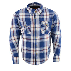 Milwaukee Performance MPM1645 Men's Blue, White and Maroon Armored Long Sleeve Flannel Shirt with Kevlar