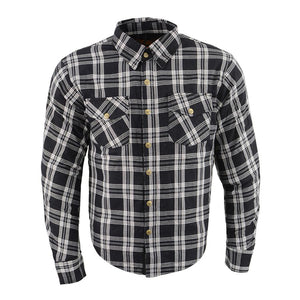 Milwaukee Performance MPM1646 Men's Black and White Armored Long Sleeve Flannel Shirt with Kevlar