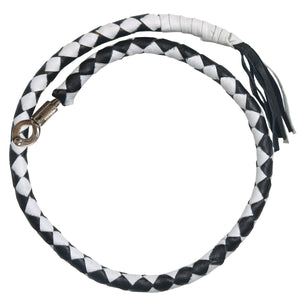 "Hot Leathers ""Get Back"" Black and White Genuine Leather Whip"
