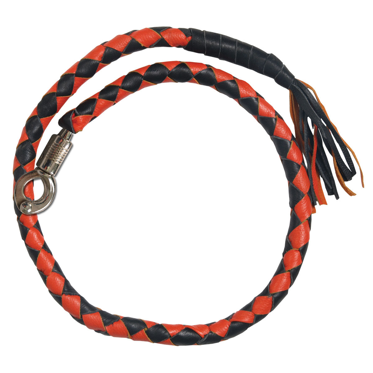 "Hot Leathers ""Get Back"" Black and Orange Genuine Leather Whip"