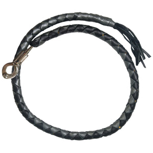 "Hot Leathers ""Get Back"" Black and Silver Genuine Leather Whip"
